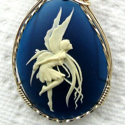 Dancing Macrabre Fairy Cameo Pendant 14K Yellow Rolled Gold Jewelry Blue Resin