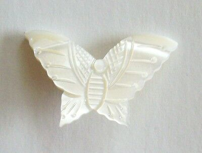 Vintage Carved Mother Of Pearl Butterfly Pin