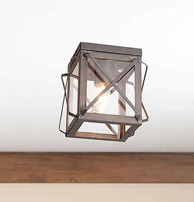 CEILING LIGHT in KETTLE BLACK TIN Single with FOLDED BARS Primitive Fixture USA