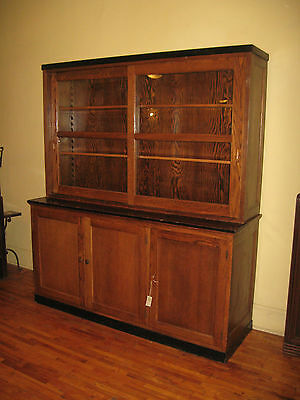 WE SHIP! Oak School/Lab Cabinet China/Bookcase/Display Kitchen Pantry Cupboard