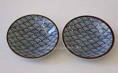 "2 PCS.Japanese 3.5""D SEIKAIHA Sushi Soy Sauce Dipping Dishes/Make in Japan"