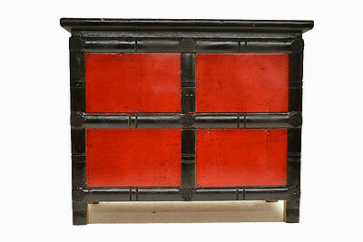 Black & Red Chinese Small Wooden Low Side End Table Cabinet w/4 Doors Jul26-04