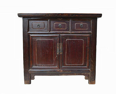 Simple Chinese Antique 3 Drawer 2 Door Wooden Storage Cabinet Cupboard CH13-12