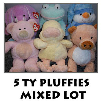 TY Pluffies - Mixed Lot of 5 Pluffies (All Different) -MWMT's Wholesale Lot Bulk