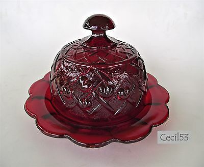 Ruby Red Glass Round Dome Butter / Cheese Dish Cherry Lattice Pattern-Ships Free