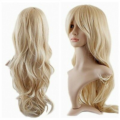 Blonde Vogue Women Long Wavy Curly Full Dress Party  Wig Costumes Anime Wigs+Cap