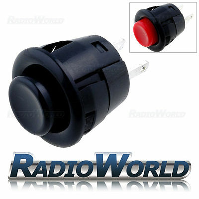 12V 3A Black / Red Momentary (ON)-OFF Round Push Button Switch Car Van Circuit