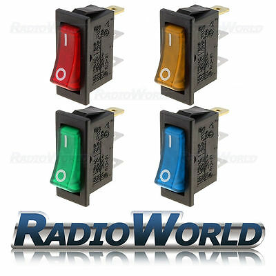 10a 250V ON-OFF Rectangle Long Rocker Switch Illuminated Blue Green Red Amber