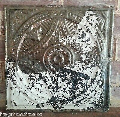"""12"""" x 12"""" Antique Tin Ceiling Tile *SEE OUR SALVAGE VIDEOS TR4  Raw Metal White"""