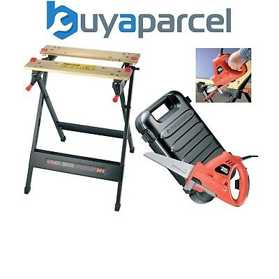 Black Decker KS890EK Scorpion Hand Reciprocating Saw Jigsaw & WM301 Work Bench