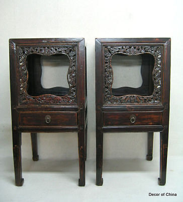 2XChinese Antique Carved Side Table Plant Stand MA20-03