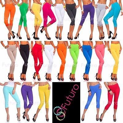 Cropped 3/4 Length Cotton Leggings With Or Without Lace Gym Pants Sizes 10-24 AU
