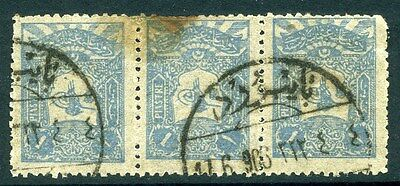 TURKEY OTTOMAN EMPIRE POSTMARK;  1905 fine STRIP of 3 1Pi. used