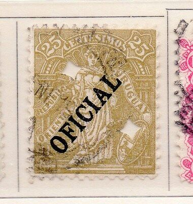 Uruguay 1907 Early Issue Fine Used 25c. Optd Official 151793