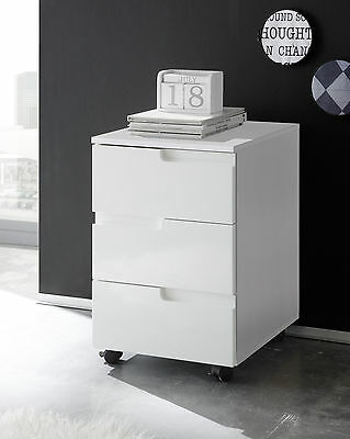 Rollcontainer in weiss Hochglanz Container Büro Arbeitszimmer Woody 32-00077