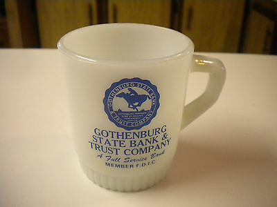 Vintage Fire King Gothenburg, Nebraska State Bank & Trust Company Mug / Cup