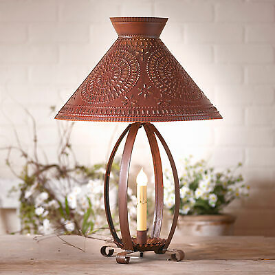 BETSY ROSS COLONIAL TABLE LAMP with Pierced Chisel Pattern Shade in Rustic Tin