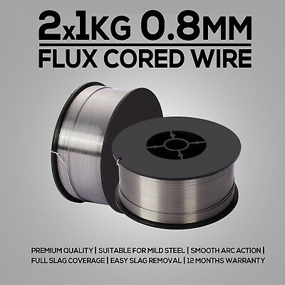 2x 1kg 0.8mm Gasless Mig Welding Wire E71T-GS Flux Cored Welder Wire Mild Steel