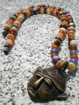 1 Magic Antique Fire Opal Stone Beads Necklace Pre-Colombian Toltec Design