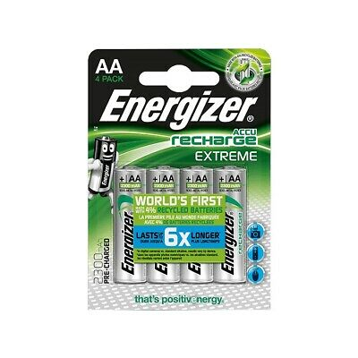 4 x Energizer AA HR6 EXTREME PRE-CHARGED NiMh Rechargeable Batteries 2300 mAh