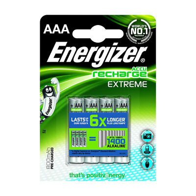 4 Pack Energizer ACCU Extreme AAA HR03 MN2400 NiMH Rechargeable Batteries 800mAh