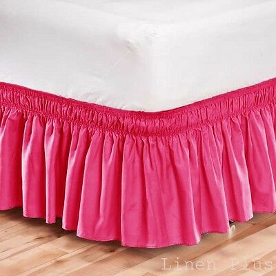 Elastic Bed Skirt Dust Ruffle Easy Fit Wrap Around Pink Color Queen Size