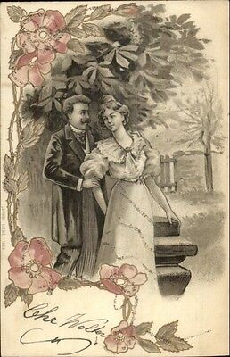 ART NOUVEAU - Beautiful Woman & Man - Pretty Floral Border c1905 Postcard