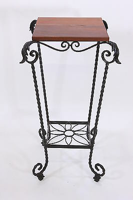 Wrought Iron Plant Stand With Walnut Wood Top Flower Motif Vintage Garden Holder