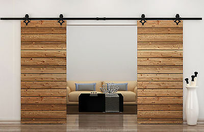 12FT Country Style Black Barn Wood Steel Double Sliding Door Closet Hardware Set