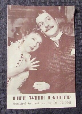 1941 LIFE WITH FATHER Playbill Municipal Auditorium Dorothy Gish & Louis Calhern