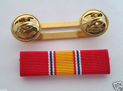 NATIONAL DEFENSE SERVICE RIBBON WITH RIBBON HOLDER Military Veteran M4057 EE