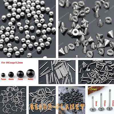 Stainless Steel Bar Cap Lip Nose Plug Eyebrow Navel Ear Ring Piercing Accessory