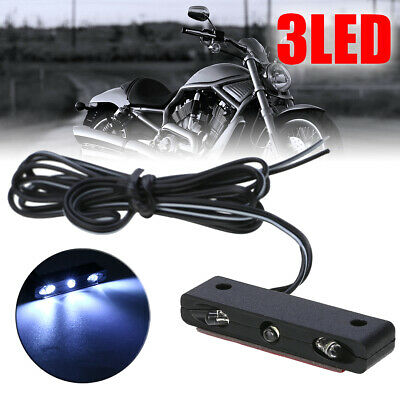 New Style 3LED Motorcycle Car License Plate Light White 12V High Brightness
