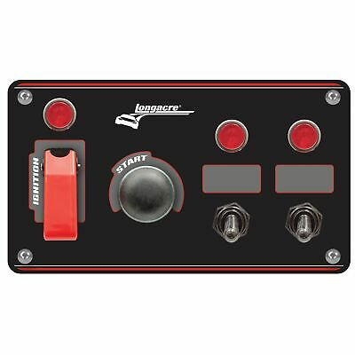 Longacre Black Ignition Switch Panel With Flip Up Cover And 2 Accessory Switches