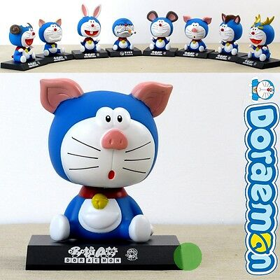 Cute DORAEMON Chinese Zodiac Shaking Head Figure Toys For Car Decoration 1PCS