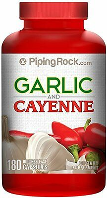 Garlic & Cayenne Cardiovascular Heart Blood Pressure Immune Supplement 180 Caps
