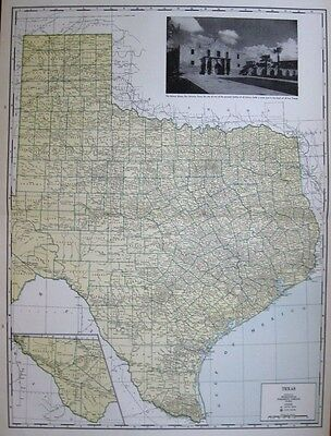 Uncommon TEXAS Map RARE SIZE Vintage 1940 Map of TEXAS Gallery Wall Art 1679