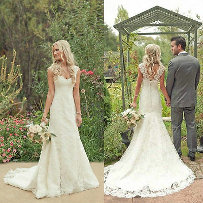 White/ivory Mermaid Bridal Gown Lace Wedding Dress Custom Size 6 8 10 12 14 16+