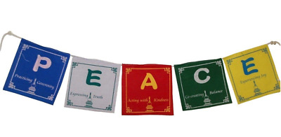 Peace Prayer Flags in English  - 5 Flags Set, 5x5 Inches