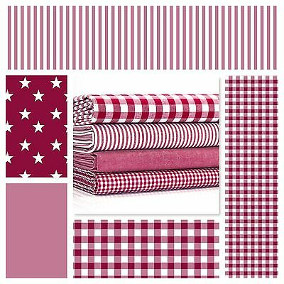 STARS BERRY RED & WHITE COTTON FABRIC by the metre EX WIDE NURSERY GIRLS FASHION