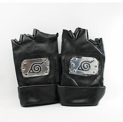 Naruto Kakashi Leaf Village PU Leather Ninja Gloves for Costume Cosplay (Black)