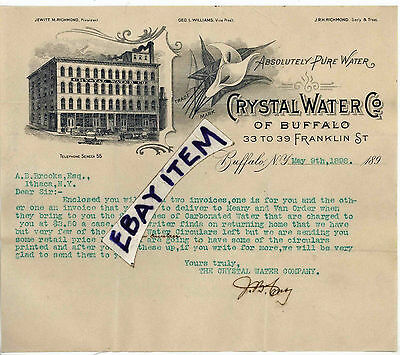 1898 LETTERHEAD Crystal Water Co. of Buffalo New York JEWITT M RICHMOND Williams