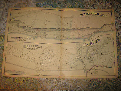 Antique 1876 Edgewater Ridgefield Fort Lee New Jersey Handcolored Map & Print Nr