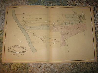 Large Antique 1876 Rutherford Lyndhurst New Jersey Map Handcolored Map Print N 49 99