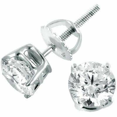 1 ct. Created Diamond Stud Earrings ~ 14K White Gold over Sterling~ Screw back