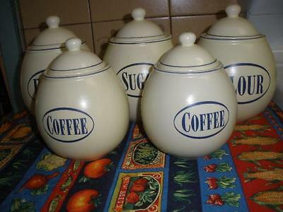 Stunning 5 Piece Pottery Canister Set Cream And Grey