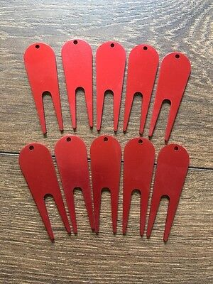 Golf Pitch Mark Repair Tool X 10 - Colour: Red