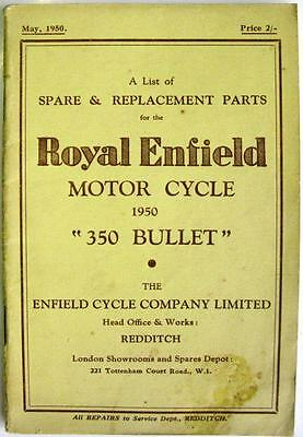ROYAL ENFIELD 350 Bullet - Motorcycle Parts List - Mar 1950 -#SB/2½M/10/50. R