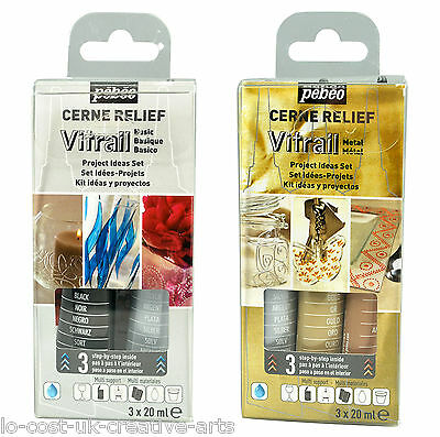 Pebeo Cerne Relief Vitrail 3 Pack Project Ideas Discovery Set- Stained Glass