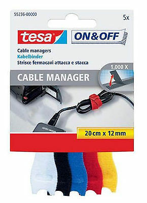 tesa® 55236-00000-00 On & Off Cable Manager, 12 mm x 20 cm, sortiert, small